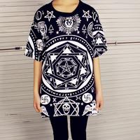 2014 HARAJUKU fashion five-pointed star hexagram skull geometry loose short-sleeve T-shirt bf