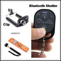 DHL 10sets(10pcs Mobile Phone Monopod Z07-1+10pcs 5.0-8.5cm Universal Clip+10pcs iPega Bluetooth Shutter) for iPhone Samsung