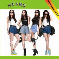 2014 New Fashion Spring Summer Boyfriend style blue casual feminino denim XXXXXL plus size high waist shorts women short jeans