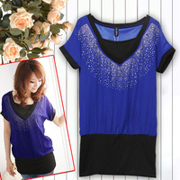 016 deep V-neck rhinestone chiffon twinset T shirt top dress women summer t shirt