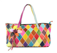 Hot-selling 2013 all-match women's cowhide patchwork handbag flower genuine leather casual bag multicolour greens shoulder bag