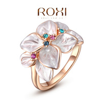 ROXI Classic Crystals Sample Sales Rose Gold Plated Flower Ring Jewelry Party OFF2010228290