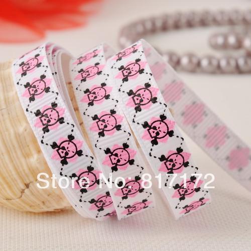 skull ribbon lovely skull printed ribbon holiday ribbon season ribbon 100yards on sale(China (Mainland))