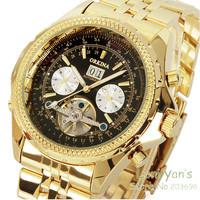 Orkina New 2014 Luxury Golden Automatic Mechanical Date Tourbillon Mens Wrist Watch+Gift Box Free Ship