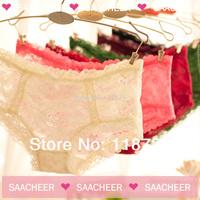 Sweet lace sexy cutout transparent female panties princess low-waist young girl panties trigonometric cute shorts