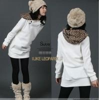 2014 autumn and winter long design casual leopard print cap fleece hat sweatshirt