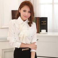 2014 spring peter pan collar ruffle women white chiffon shirt female long sleeve shirt white slim plus size ol chiffon blouses