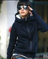 Plus velvet thickening turtleneck hooded set sweatshirt outerwear