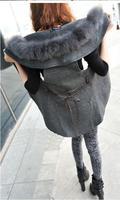 Fashion autumn and winter fur collar vest outerwear long design cape vest outerwear with belt