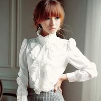 2014 spring women's basic white long sleeve shirt royal work wear chiffon white shirt women ruffles elegant blouse top
