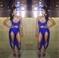 royal blue v neck dress summer 2014 womens clothing sexy jumpsuit 2 piece bodycon clubwear fashion women clothes
