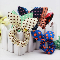 Free shipping (30 pieces/lot) 2014 fashion headwear cute rabbit shape rubber band Candy color dot hair scrunchy for women
