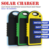 2014 New Waterproof Dustproof Shockproof Silicone Solar Charger Power Bank for iPhone/ iPad All Mobile Phones Free Shipping