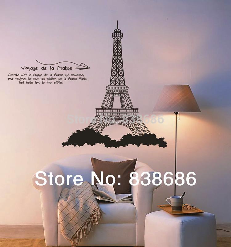 """Grátis moda PVC transporte 90 * 100 centímetros """"Torre Eiffel"""" decalque de vinil adesivo de parede sala de casa decoração removível(China (Mainland))"""