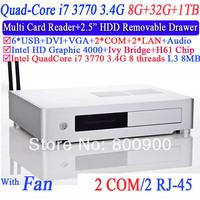 home theater computers mini pcs with quad core i7 3770 LGA1155 3.4Ghz eight threads CPU 2 RJ45 2 COM 8G RAM 32G SSD 1TB HDD