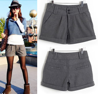 New 2014 autumn winter women woolen shorts fashion slim solid waistline shorts with belt casual women pants