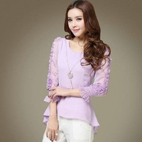 New Hot Sale Fashion 2014 Spring & Summer Women Clothing Sleeve Chiffon Blouse Ol Elegant Ladies Tops Sexy Basic Shirt Ab140