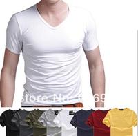 Free Shipping Fashion Brand New Men's GentleMen Slim Fit V-Neck Short Sleeve Bottoming Cotton Casual T-Shirt T Shir