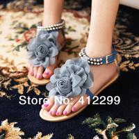 On promotion!!! New arrival Bohemia 2014 Sandals Female Beaded Flower FLat Flip-flop flats Women's Shoes