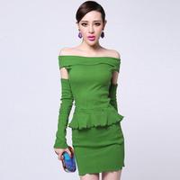 2014 fashion vintage strapless sleeve t-shirt short skirt set