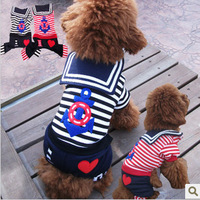 Pet supplies pet clothes dog clothes navy style cool rompers sea military pet clothes