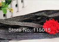10 Yards Black+White Silk 1.5cm Width FOE Glitter Fold Over Elastic for Baby Hair Headbands Elastic Hair Accessory Free Shipping