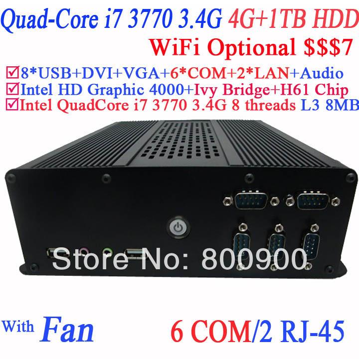 mini itx thin computer desktop pc with Intel i7-3770 3.4Ghz 3.9Ghz Turbo LGA 1155 77W Quad-Core Desktop Processor 4G RAM 1TB HDD(China (Mainland))
