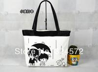 Women Ladies Girl Handbag Casual Animal Cat Print Cartoon Canvas Daily Shopping Soft Sling Shoulder Bag Tote Purse Foldable