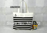 Black/red/blue New Fashion Big Capacity strip Print Women Casual Canvas Handbag Shoulder Bags Beach Bag Mommy bag Shopping Bags