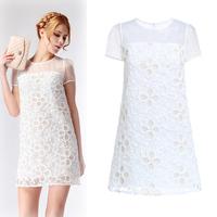 Gold flower embroidery organza high waist slim dress short-sleeve 2141080280 cqg1