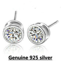Wholesale Genuine 925 sterling silver crystal fashion earrings wedding jewelry for women 2J294