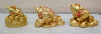 Resin gold plated ingot toad resin toad feng shui decoration