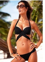 Ladies Sexy 2 PCS Black or White Women Swimwear Swimsuit Trikini Bikini Beachwear 1pcs/lot Free Shipping