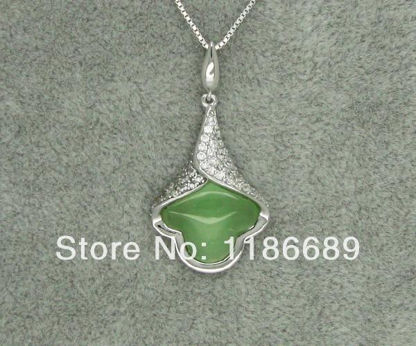 Silver Pendant Green Opal(China (Mainland))