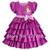 new2014girl print dress brand,Female child short-sleeve dress female child dress , 1set/lot free shipping