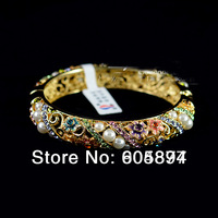 Top grade Gift Cloisonne Pearl 18k Gold Plated Bracelets For Women Austrian Crystal rhinestone Brand Hollow Bangles Jewelry