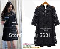 Plus Size XXXL XXXXL Dresses 2014 Spring Women New Fashion Turn-Down Collar Half Sleeve Slim Twinset Lace Hollow Out Dress S-4XL