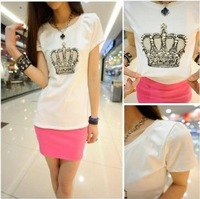 2014 summer basic T-shirt fashion sparkling diamond queen style loose round neck T shirt women new Tops & Tees short sleeve