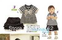 girl print dress brand,Bow print stripe top cake skorts ,1set/lot free shipping