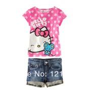 2014new girl print dress brand Hellokitty female child set summer short-sleeve twinset , 1set/lot free shipping