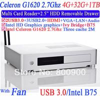 Desktop Mini Computer Thin Clients with HDMI VGA LVDS Intel dual core Celeron G1620 2.7GHz CPU IVB Bridge 4G RAM 32G SSD 1TB HDD