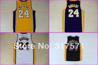 2013#24 Kobe Bryant black white yellow purple REV black gold Rev 30 Brand Basketball jersey Embroidery logos
