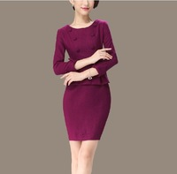 Spring 2014 brief vintage purple faux two piece woolen slim three quarter sleeve one-piece dress plus size available