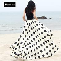 Verragee 2014 Summer Vintage Arrival Elegant Dot Print Slim Beach Plus Size Chiffon Long Skirts Maxi Midi Skirt  Sheer Skirts