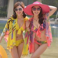 Sexy piece set bikini steel push up swimwear hot spring plus size belt scarf swimwear
