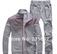 Best Brand Men Autumn Spring Plaid SportsSuit Active Clothes Long Sleeve Coat+Pants Sets Man Casual Sweatshirt