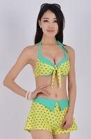 Swimwear bikini female big small push up steel piece set hot spring swimsuit