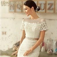 2014 summer bridal wedding dress slit neckline short trailing slim sexy lace bag long white lace dress Free shipping