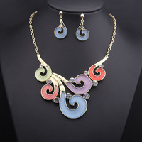 2014 fashion luxurious choker Necklaces/Earrings Jewelry Sets mix color stone dress bride jewelry for women, Free shipping