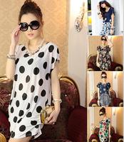 Sale! New 2014 t-shirts Summer Dress t shirt shirts XXXL Flower Printed Plus Size Women Clothing Vestidos Casual Free Shipping